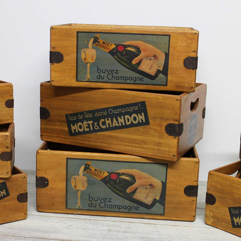 Moet Champagne Vintage Box Wooden Wine Crate Hamper